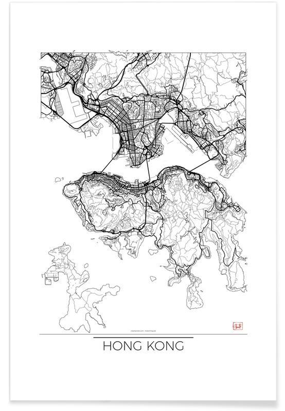 Cartes de villes, Hong Kong, Hong Kong - Carte minimaliste affiche