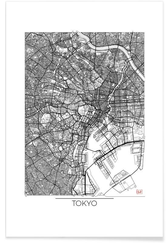 Cartes de villes, Tokyo, Tokyo - Carte minimaliste affiche