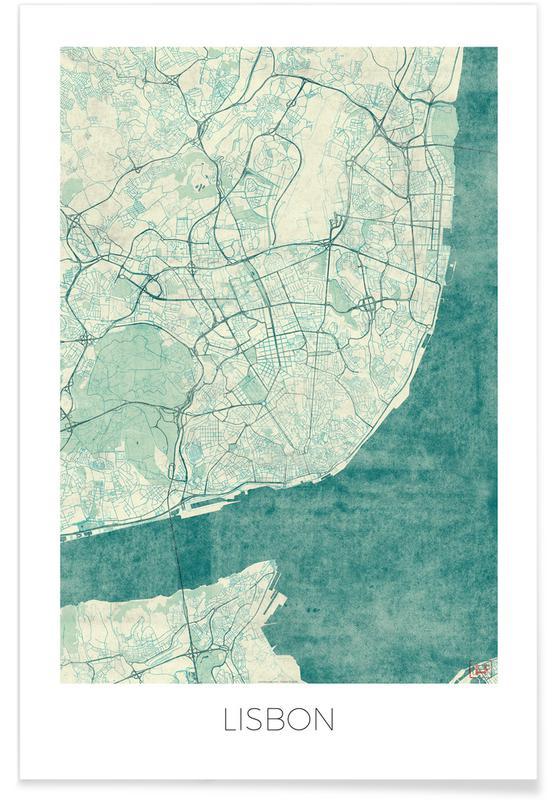 Bykort, Lissabon, Lisbon Vintage Map Plakat