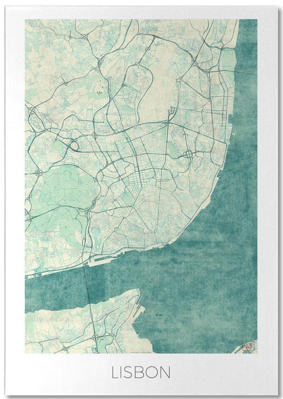 City Maps, Lisbon, Lisbon Vintage Notepad