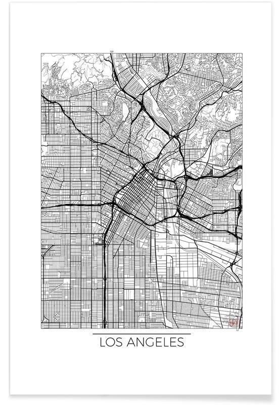 Cartes de villes, Los Angeles, Los Angeles - Carte minimaliste affiche