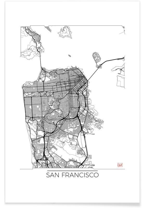 San Francisco, Stadtpläne, San Francisco-Minimalistische Stadtkarte -Poster