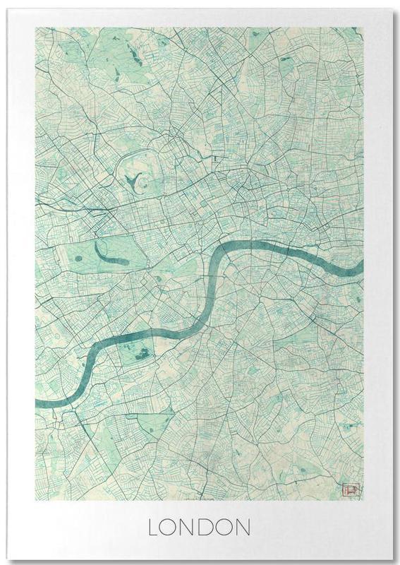 Londres, Cartes de villes, London Vintage bloc-notes