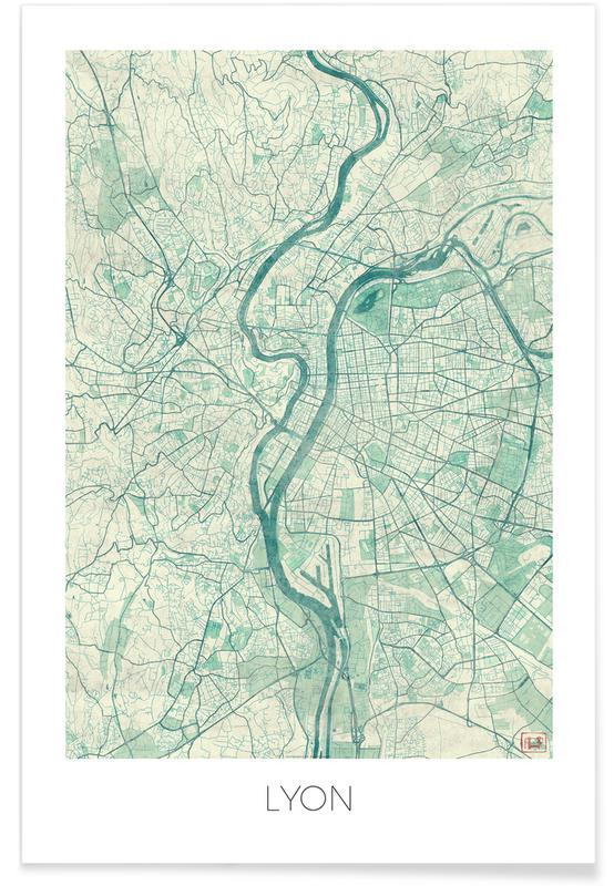 Stadskaarten, Lyon, Lyon - vintage stadskaart poster