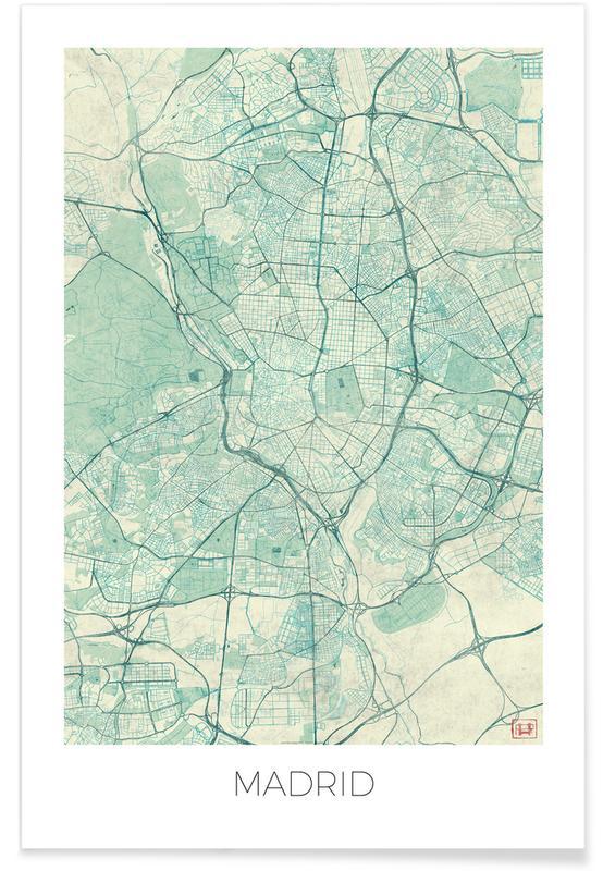 City Maps, Madrid, Madrid Vintage Map Poster