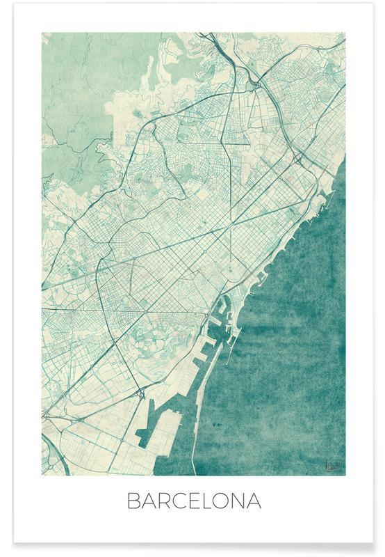 Barcelona-Vintage-Stadtkarte -Poster