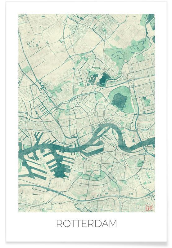 Cartes de villes, Rotterdam, Rotterdam - Carte vintage affiche