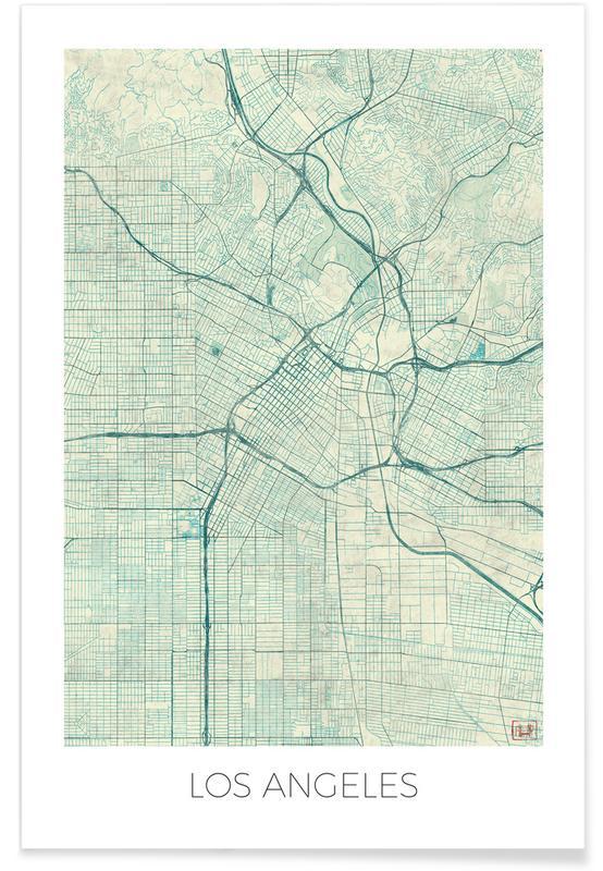 Cartes de villes, Los Angeles, Los Angeles - Carte vintage affiche