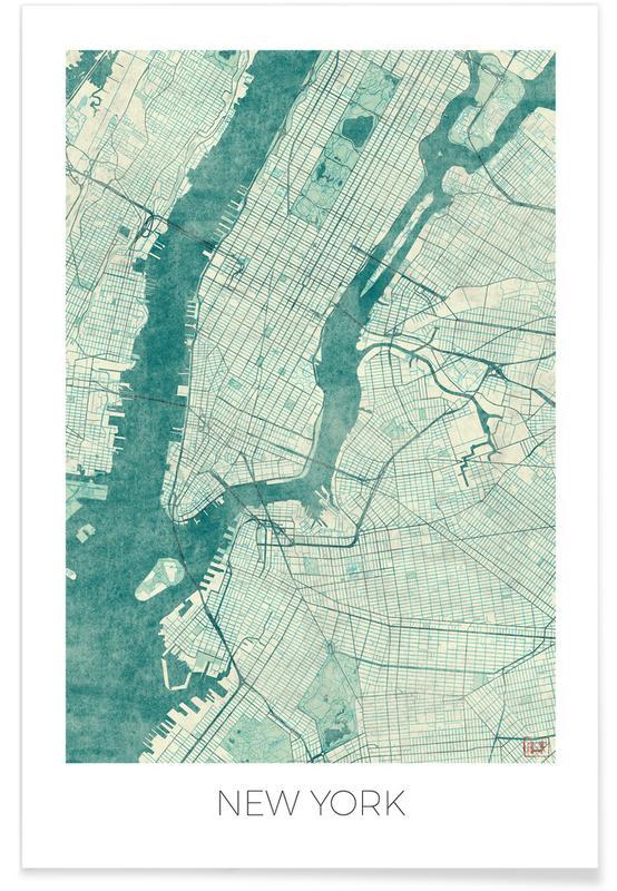 New York - vintage stadskaart poster