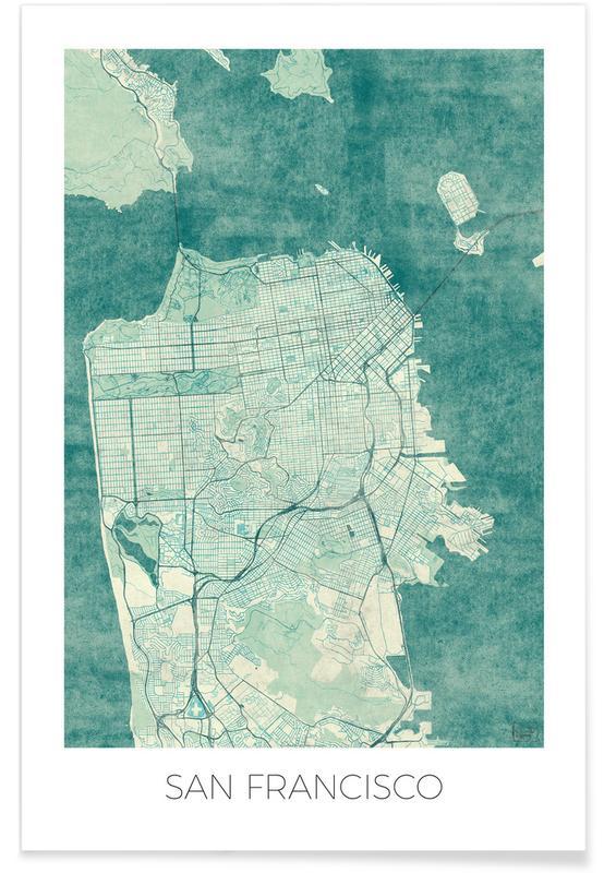 San Fransico Vintage Map Poster