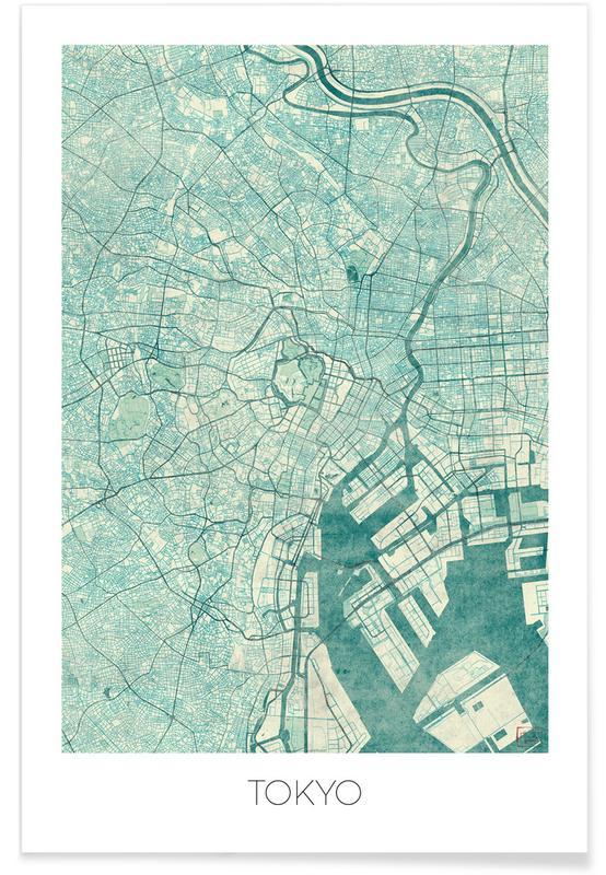 Stadskaarten, Tokyo, Tokio - vintage stadskaart poster