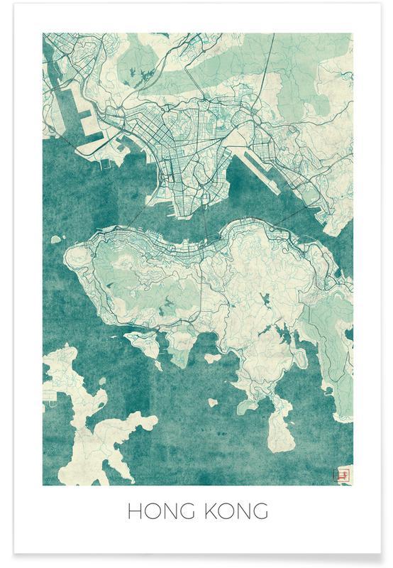 Bykort, Hongkong, Hong Kong Vintage Map Plakat