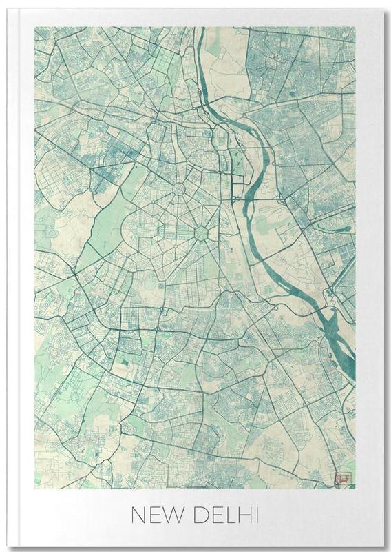 Cartes de villes, New Delhi Vintage Notebook