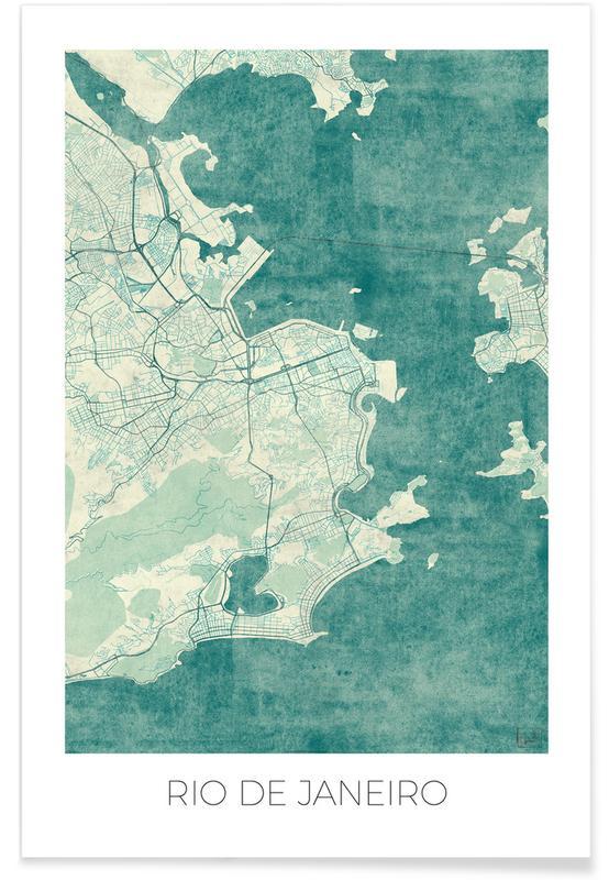 Rio de Janeiro, City Maps, Rio de Janeiro Vintage Map Poster
