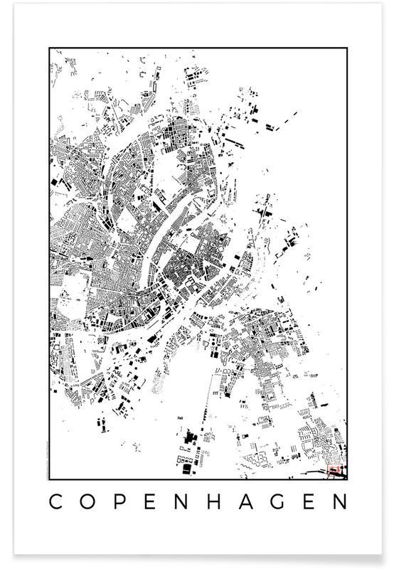 Black & White, City Maps, Copenhagen, Copenhagen Map Black Poster