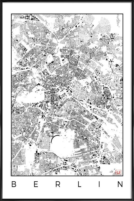 Berlin Map Schwarzplan -Bild mit Kunststoffrahmen