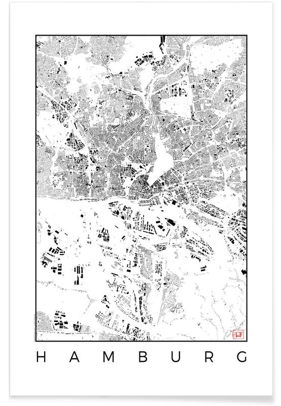 Black & White, Hamburg, City Maps, Hamburg Map Black Poster