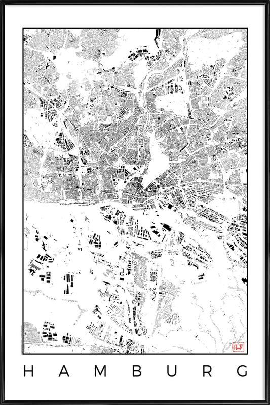 Hamburg Map Schwarzplan affiche encadrée