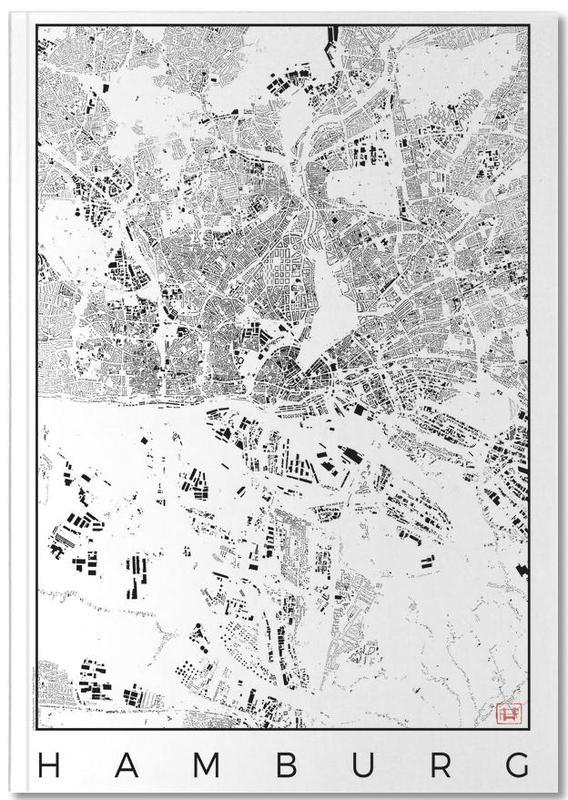 Cartes de villes, Noir & blanc, Hambourg, Hamburg Map Schwarzplan Notebook
