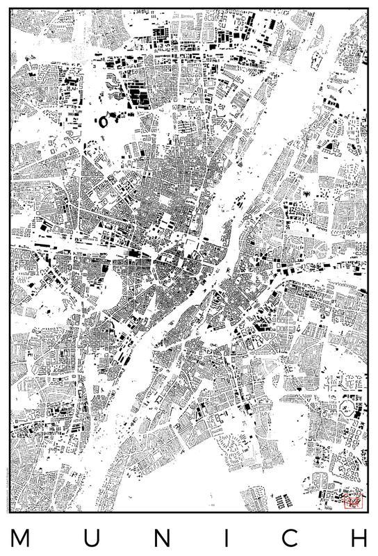 Munich Map Schwarzplan -Alubild