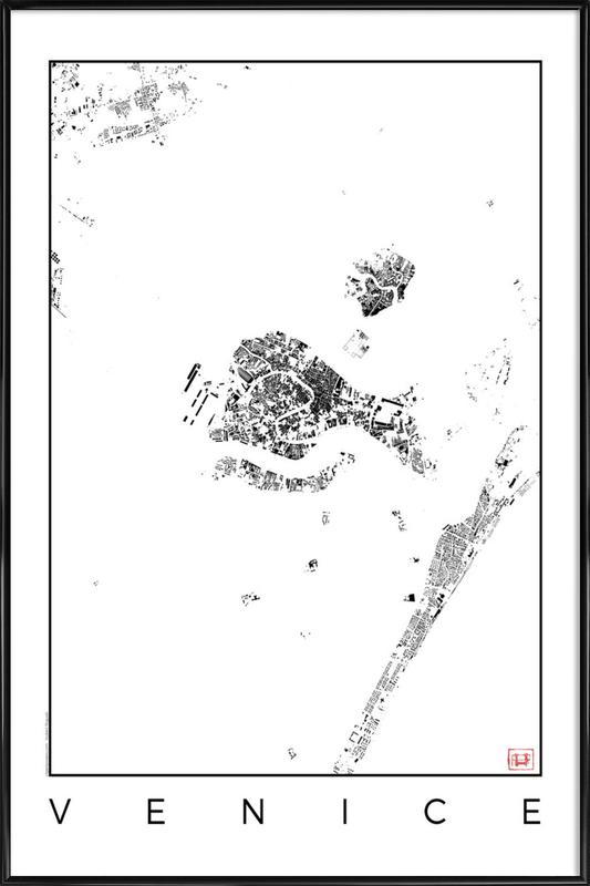 Venice Map Schwarzplan Framed Poster