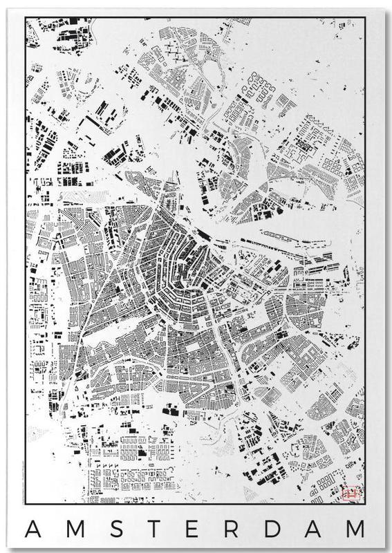Amsterdam Map Schwarzplan -Notizblock