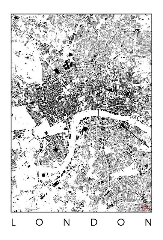 London Map Schwarzplan -Acrylglasbild