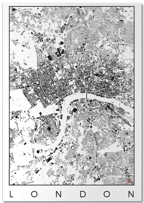 Black & White, London, City Maps, London Map Schwarzplan Notepad