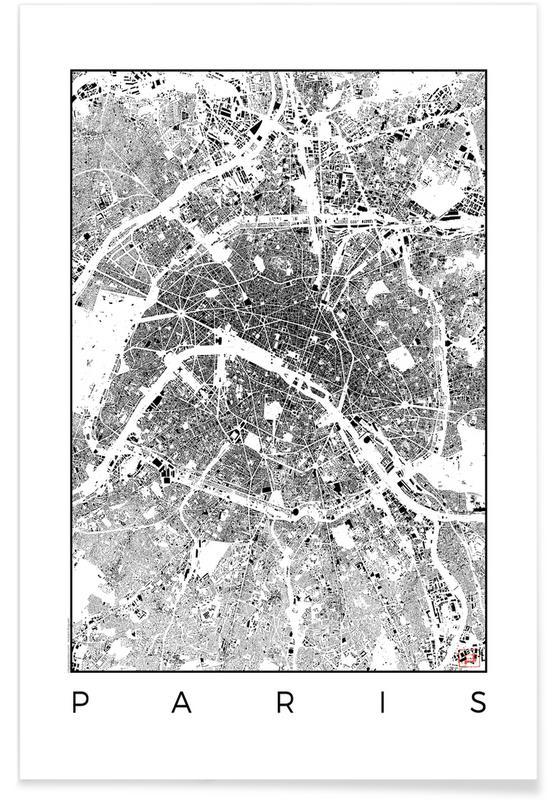 Paris, Schwarz & Weiß, Stadtpläne, Paris-Stadtkarte-Schwarzplan -Poster