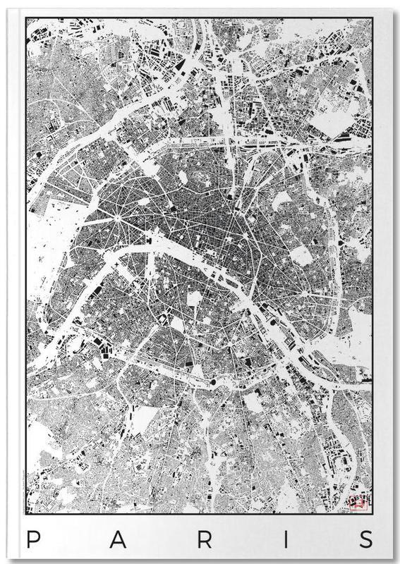 Cartes de villes, Noir & blanc, Paris, Paris Map Schwarzplan Notebook