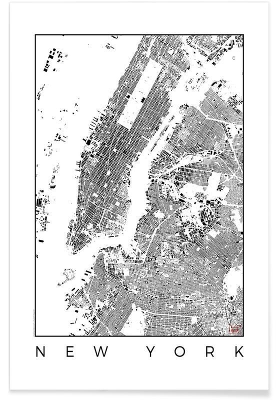 New York, Zwart en wit, Stadskaarten, New York - zwarte stadskaart poster