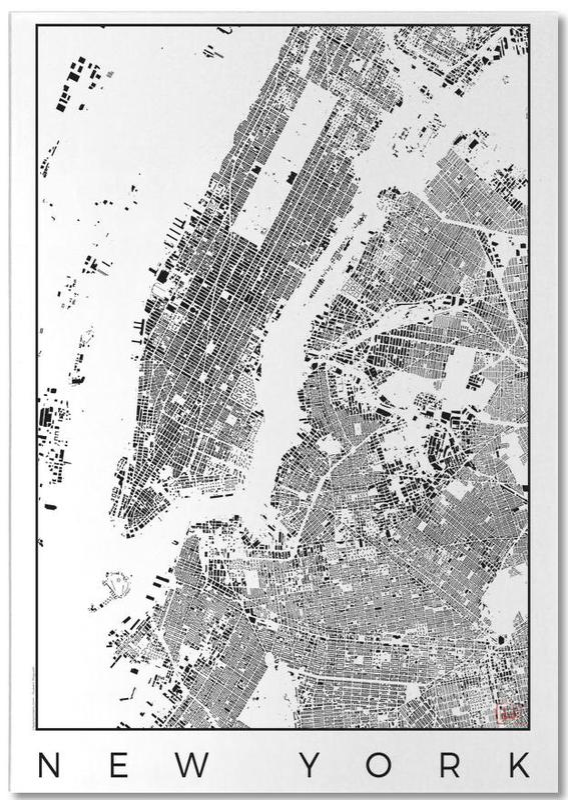 New York, Noir & blanc, Cartes de villes, New York Map Schwarzplan bloc-notes
