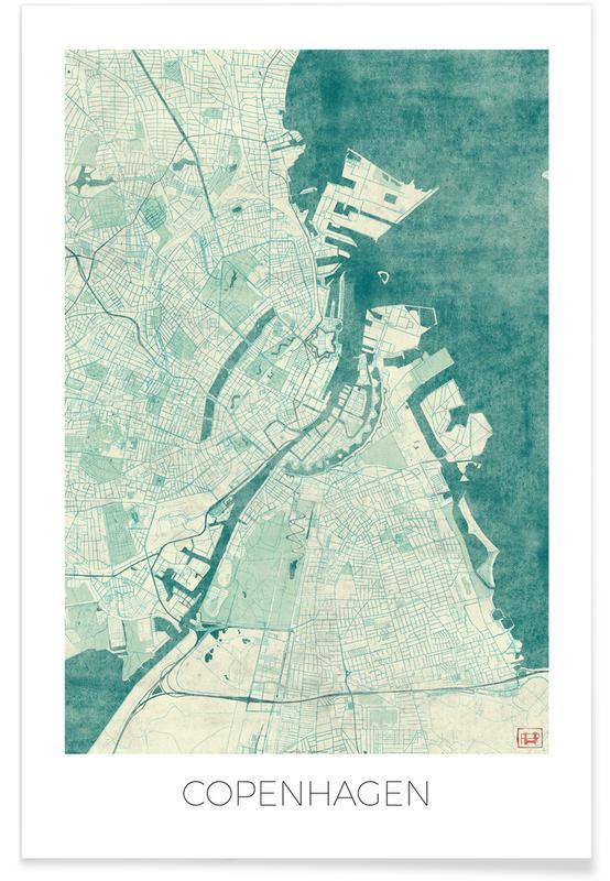 Copenhagen, City Maps, Copenhagen Vintage Map Poster