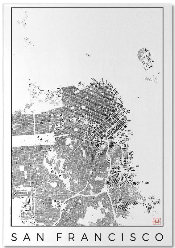 Noir & blanc, Cartes de villes, San Francisco, San Fransico Map Schwarzplan bloc-notes