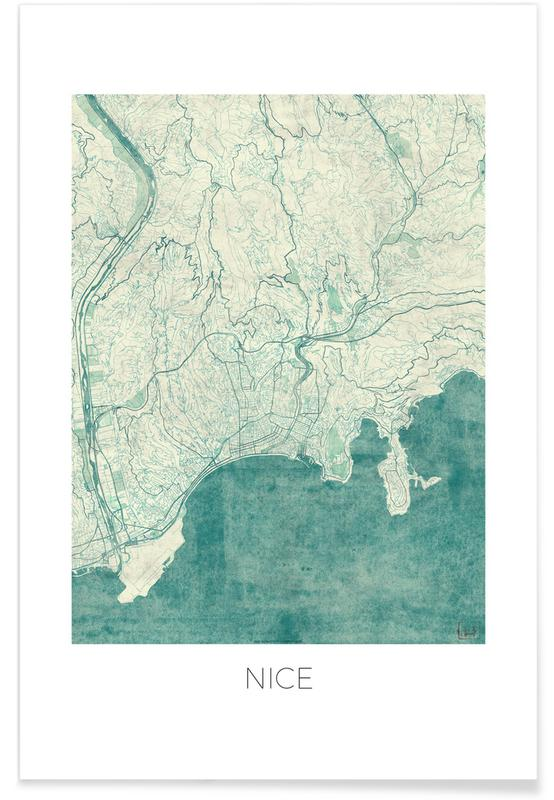 Stadtpläne, Nizza-Vintage-Stadtkarte -Poster