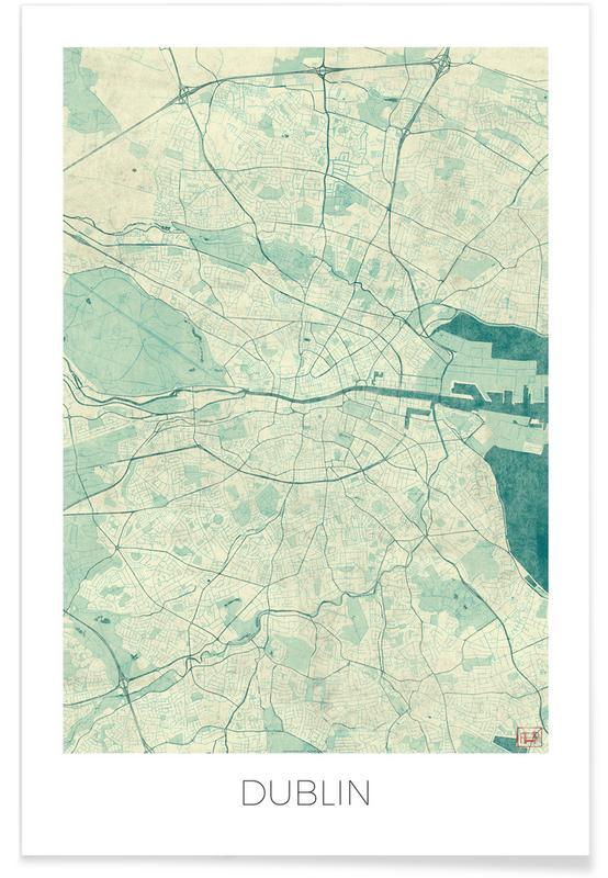Stadtpläne, Dublin, Dublin-Vintage-Stadtkarte -Poster