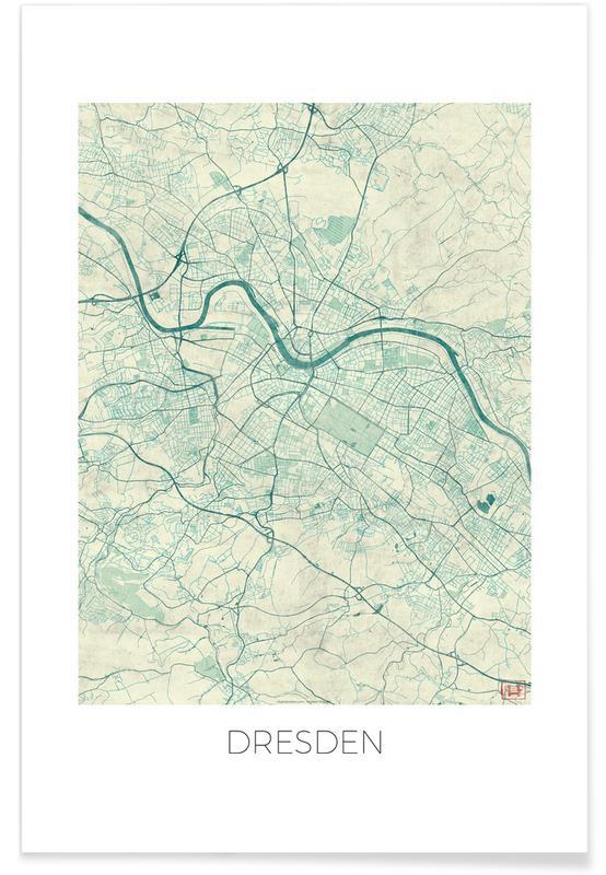 Stadtpläne, Dresden-Vintage-Stadtkarte -Poster