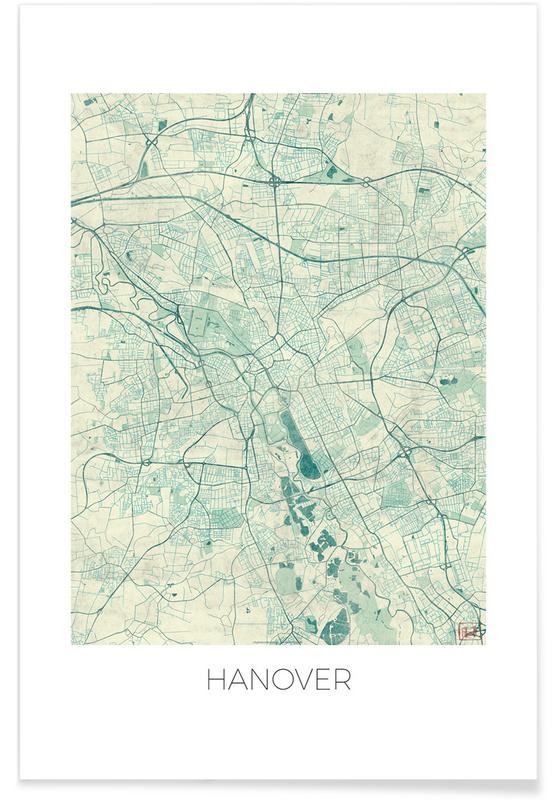 Stadskaarten, Hannover - vintage stadskaart poster