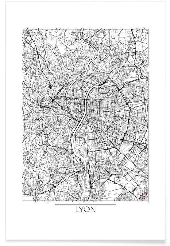 Lyon-Minimalistische Stadtkarte -Poster