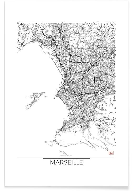 Marseille - Carte minimaliste affiche