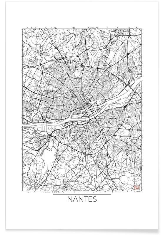 Nantes - Carte minimaliste affiche