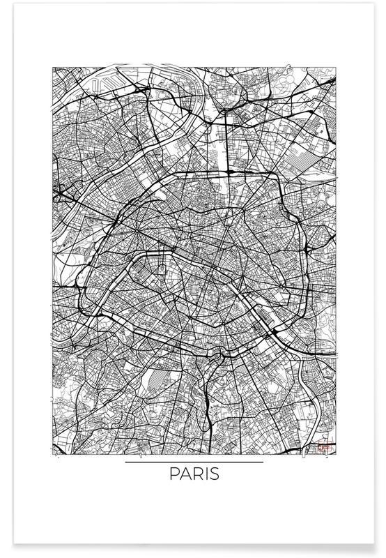 Cartes de villes, Paris, Paris - Carte minimaliste affiche
