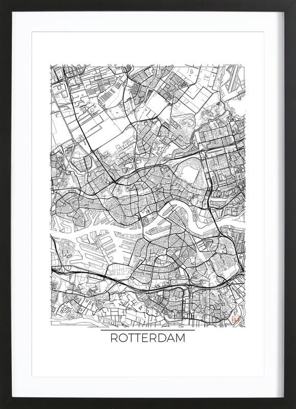 Rotterdam Minimal affiche sous cadre en bois