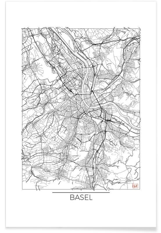 Basel Minimal Map Poster