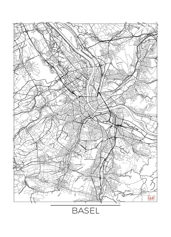 Basel Minimal -Leinwandbild