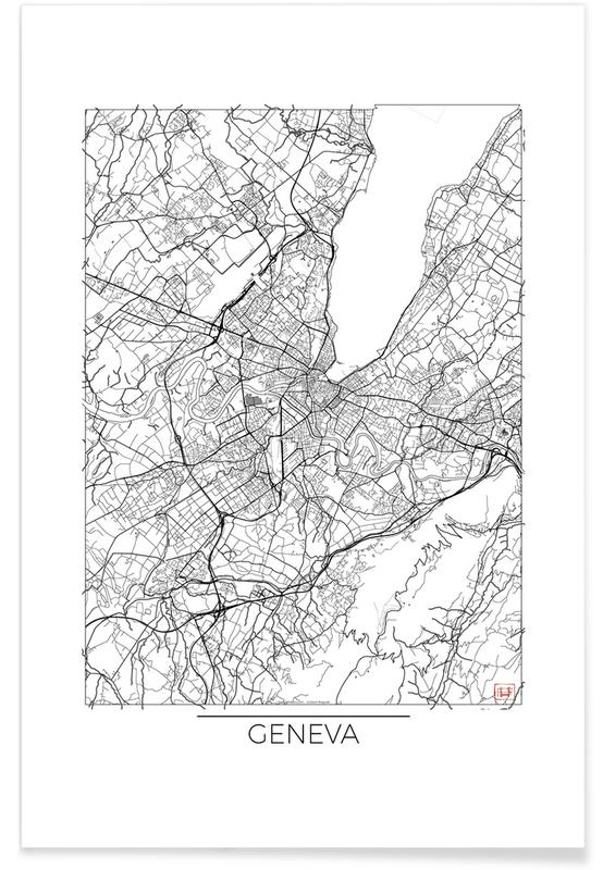 Genève - minimalistische stadskaart poster