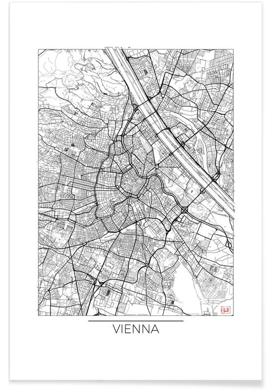 Vienne - Carte minimaliste affiche