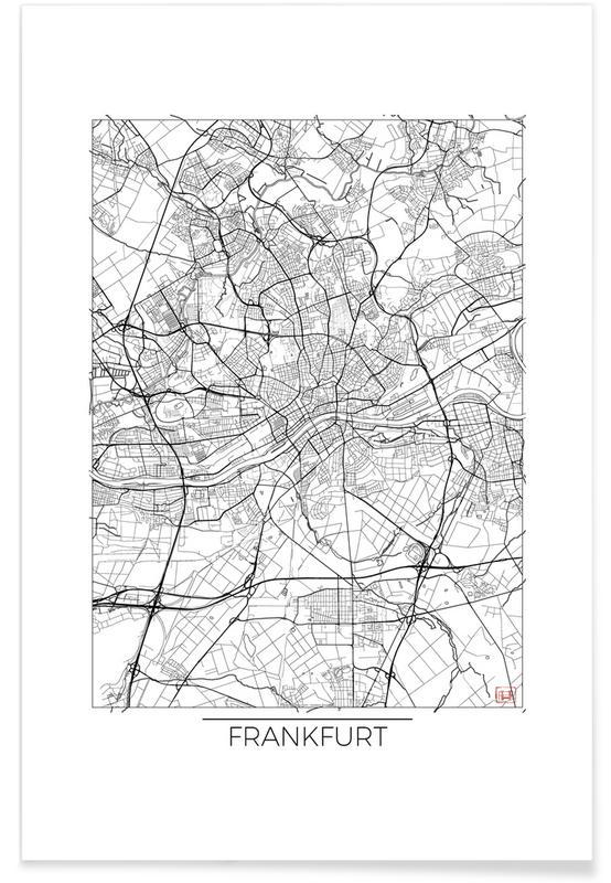 Frankfurt, Stadskaarten, Frankfurt - minimalistische stadskaart poster