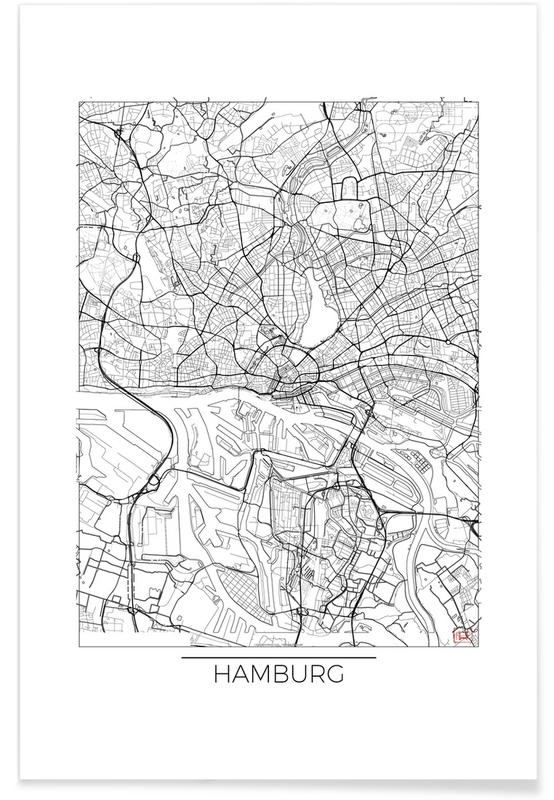 Hamburg, City Maps, Hamburg Minimal Map Poster