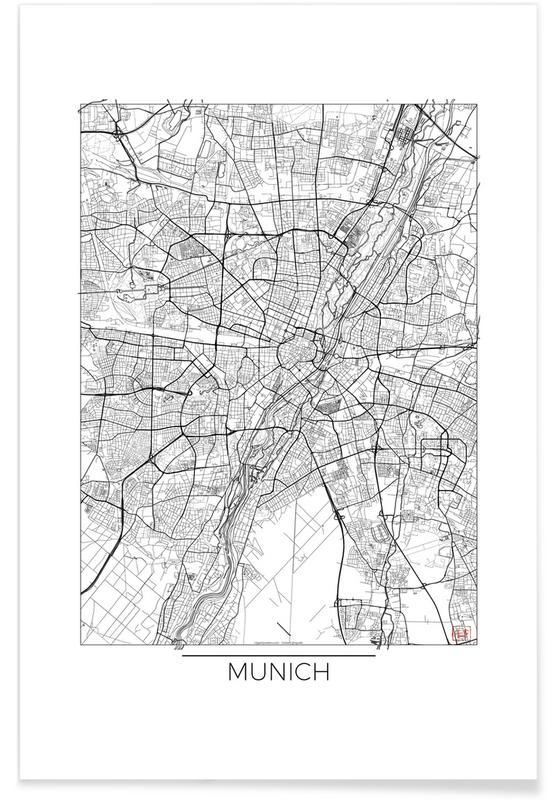 München, Stadtpläne, München-Minimalistische Stadtkarte -Poster